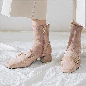 Image 4 - FEDONAS مربع اصبع القدم النساء منتصف العجل الأحذية بوط من الجلد الطبيعي الدافئة السيدات الجوارب أحذية أنيقة حزب منصات الشتاء أحذية امرأة