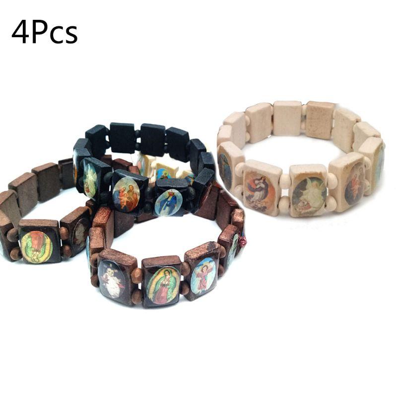 4pc Catholic Jewelry Christian Supplies Wooden Icon Elastic Bead Bracelet Gift