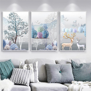 Deers and Trees Nature Oil Paintings Wall Art Poster Prints New 2020 Canvas Printing Pictures for Living Room Bedroom Home Decor