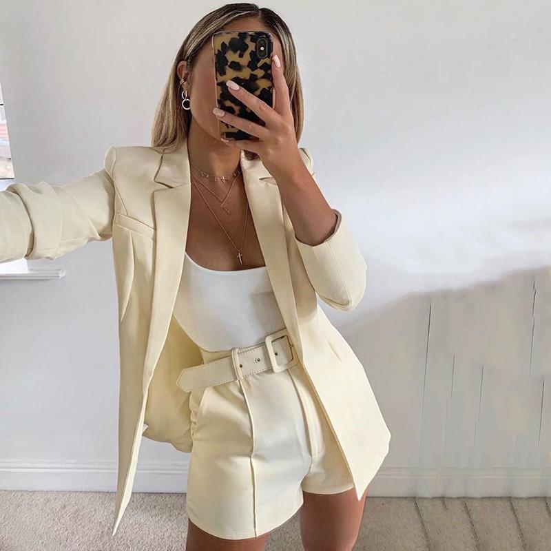 Solid Turn-Down Collar Two Pieces Set Women Blazer Coat Belt Loose Shorts Suits V-Neck Casual Office Outfit