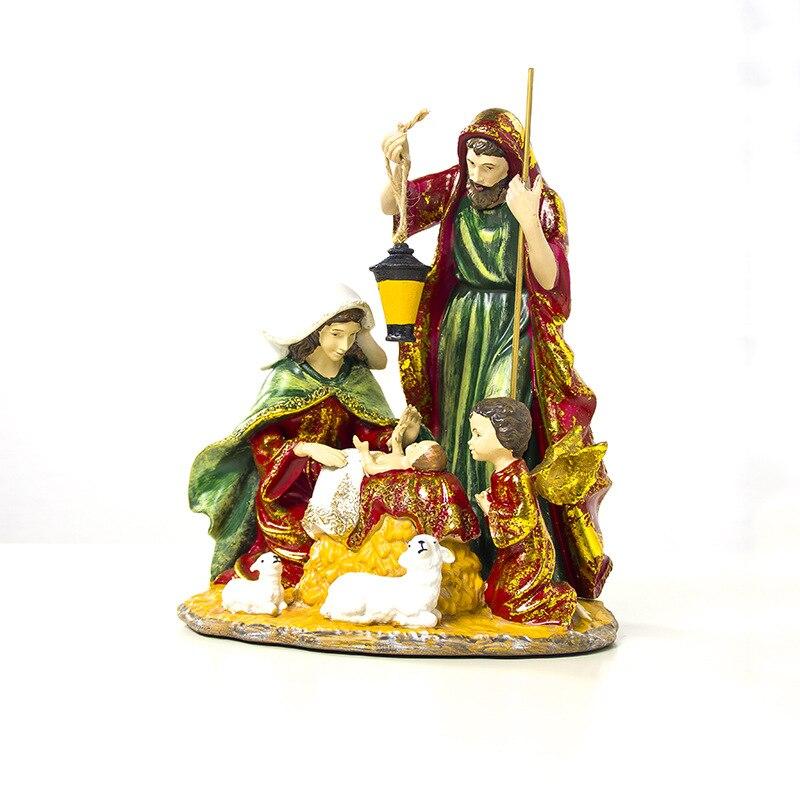 2019 Nieuwe Jaar Kerst Kleurrijke Geschilderd Religieuze Hars Ambachten Xmas Standbeeld Ornamenten Bureau Tafel Kerst Decoraties Voor Huis - 3
