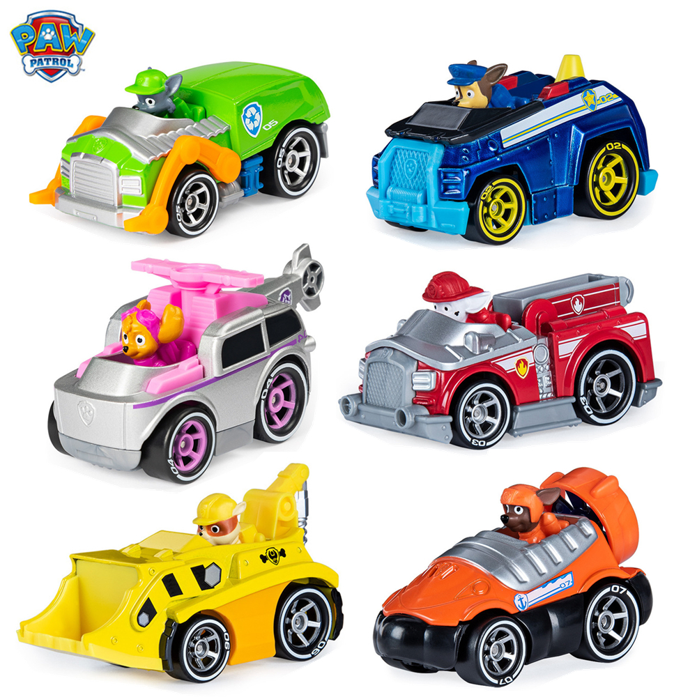 Genuine Paw Patrol Toy Car Set Puppy Patrol Alloy Racing Skye Rubble Chase Marshall Action Figure Alloy Model Kids Toy Gift