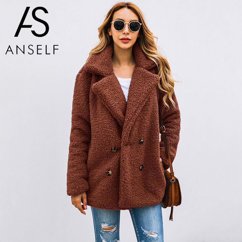 ANSELF Faux Fur Jacket Women Fuzzy Teddy Bear Jacket Fur Fake Coat Notch Lapels Oversized 2019 Winter Teddy Coat Plus Size 3XL