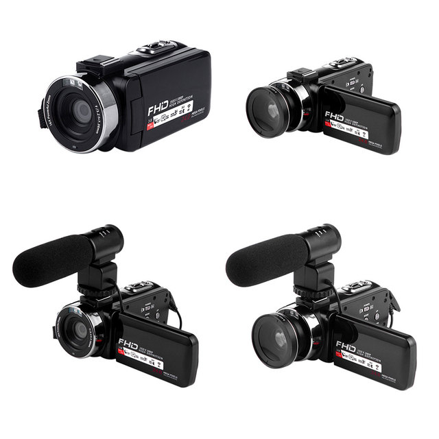 16X Digital Zoom Video Camera Camcorder 1080P HD WIFI Wide Angle Lens/Outer Microphones Remote Control