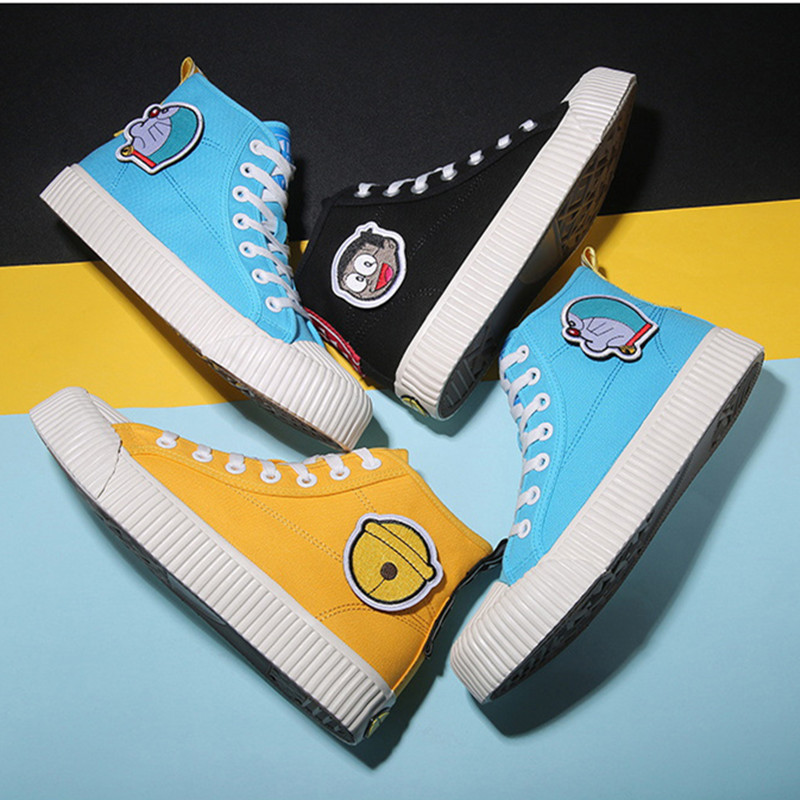 2020 new Doraemon high-top canvas shoes men and women wild casual shoes vulcanized shoes canvas shoes Nobita Nobi shoes Cosplay