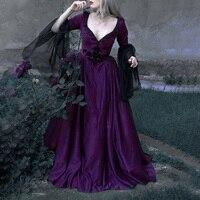 Vintage Dress Medieval Renaissance Dress Sexy Lace Embroidery Court Dress Ball Gown Low Cut Long Sleeve Long Dresses Women