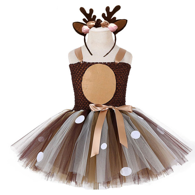 Deer Tutu Dress Happy Purim Baby Girls 1st Birthday Party Dresses Carnival Halloween Winter Cosplay Costume Clothes For Kids 1