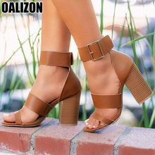 Women Summer Open Toe Lady Sandals Fashion Buckle Strap Chunky High Heels Casual