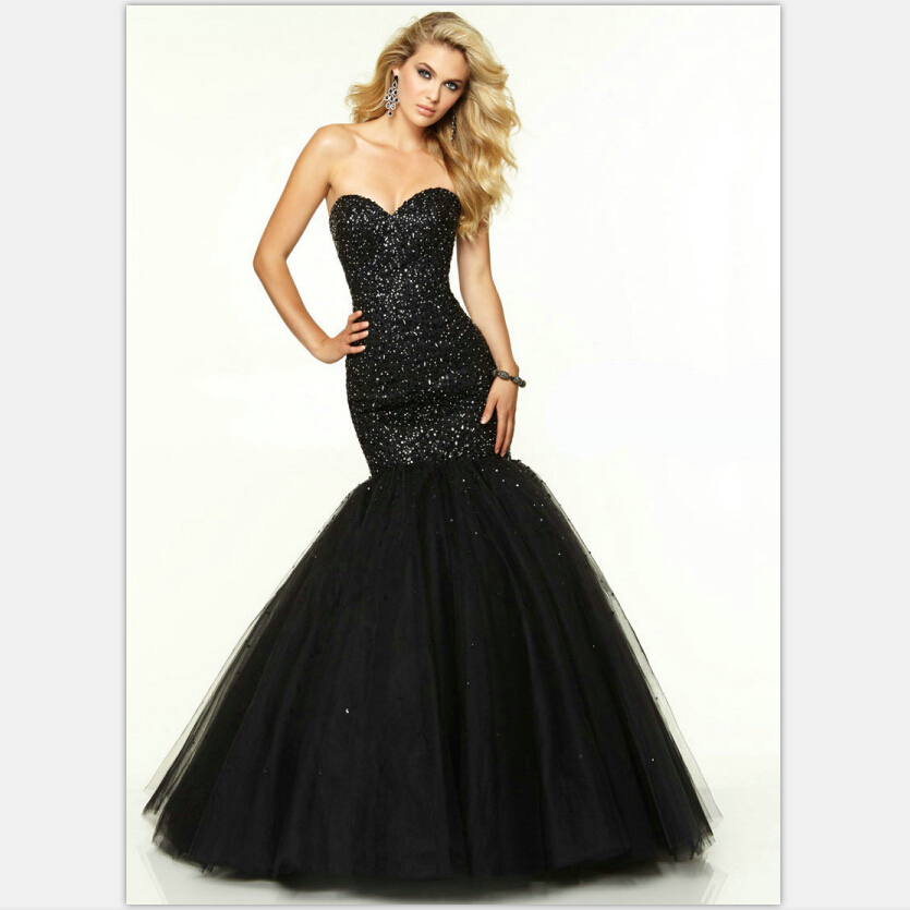 Black Prom Dresses 2016 Mermaid Sweetheart Long Dress With Crystals Corset Back Blush Tulle Sparkly Black Dress