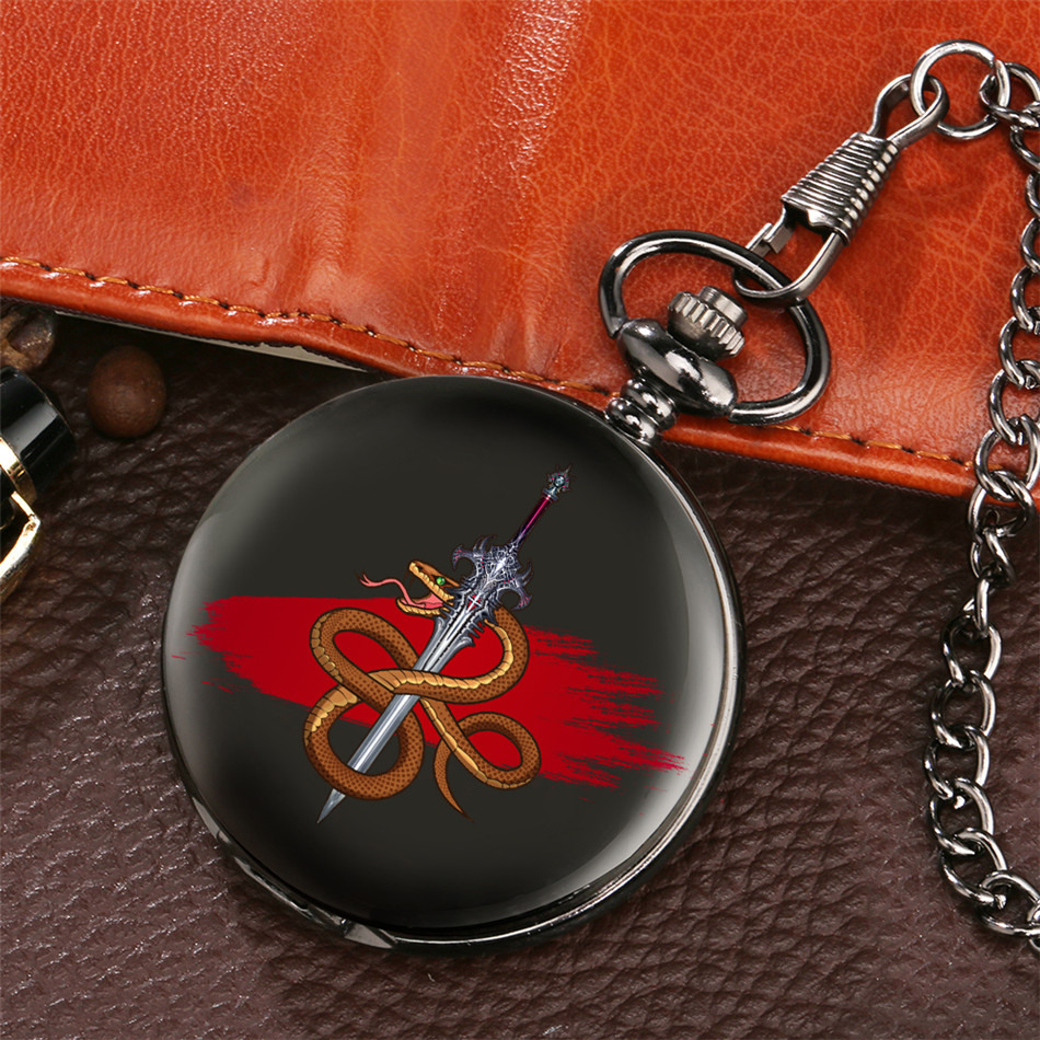 Retro Fashion New Printing Snake Design Pocket Watch Quartz Pendant Clock Vintage Fob Pocket Clock Gifts Men Women