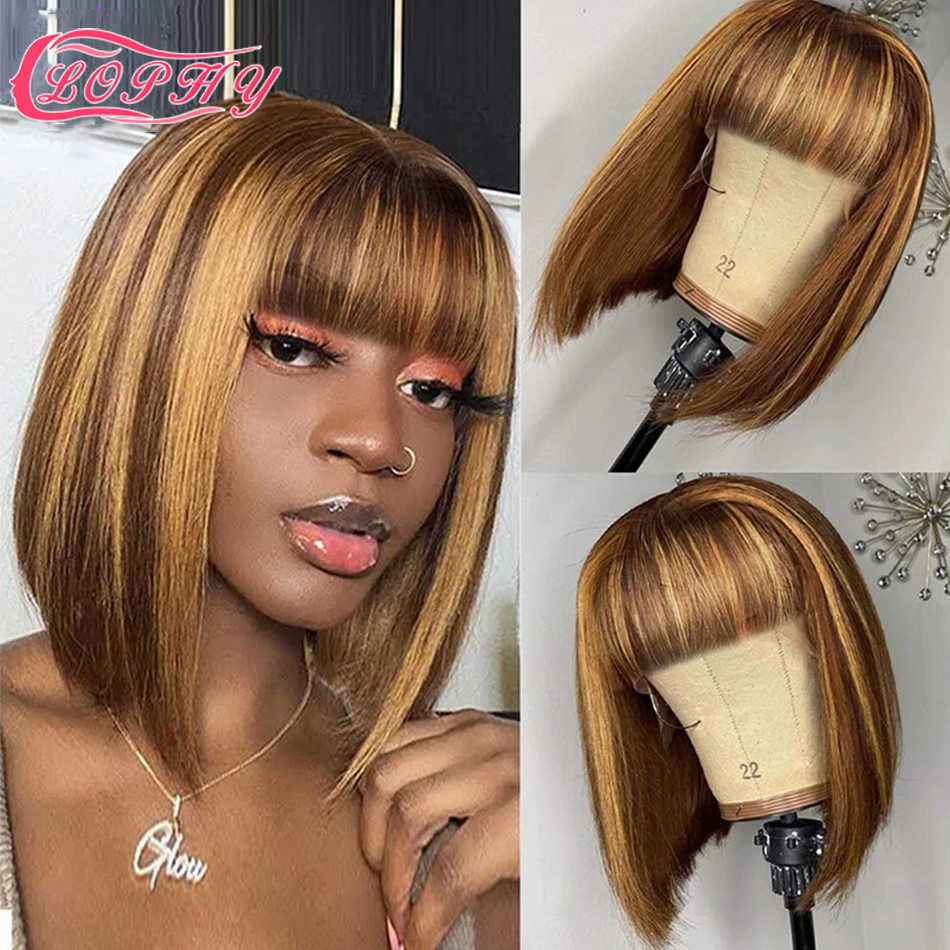 Highlight Short Bob Wig With Bangs Straight Human Hair Wigs Ombre Honey Blonde Human Hair Wig Full Machine Made Wig For Women