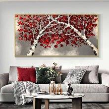 Абстрактные деревья с красными листьями 100% ручная роспись