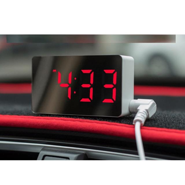 LED Multifunctional Mirror Clock Digital Alarm Snooze Display Time Night LCD Light Table Desktop USB 5v/No Battery Home Decor 6