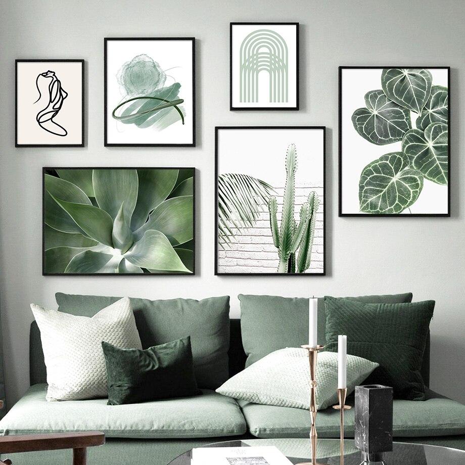 Frische Grüne Blatt Abstrakte Mädchen Curve Tür Nordic Poster Und Drucke Wand Kunst Leinwand Malerei Wand Bilder Für Wohnzimmer decor