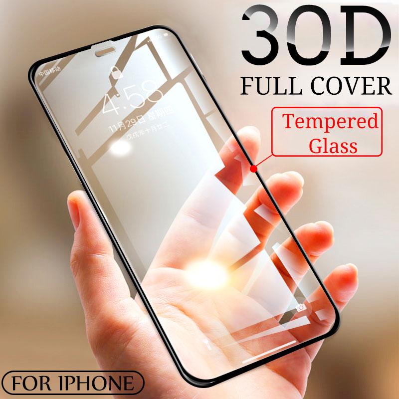 Vidro temperado para proteção de tela 30d, vidro protetor de tela 30d curvo de cobertura completa para iphone 11 pro max vidro xr xs max