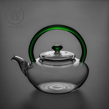 Tea making pot glass handle thickened high temperature resistant black tea kung fu tea set flower teapot household filter set