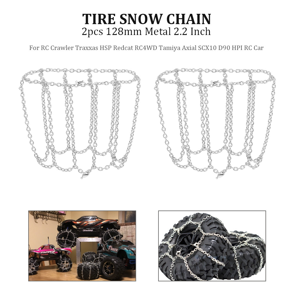 <font><b>2.2</b></font> Inch Hub 128mm <font><b>Tire</b></font> Snow Chain Anti-Skid Chain Metal for RC Crawler Traxxas HSP Redcat RC4WD Tamiya Axial RC Car 2pcs image