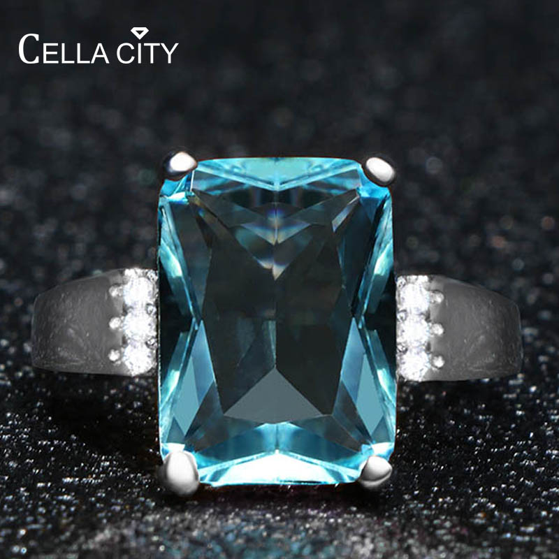 Cellacity Geometry Aquamarine Ring For Women Silver 925 Jewelry For Party Huge Rectangle Gemstones Female Gifts Party Size6-10