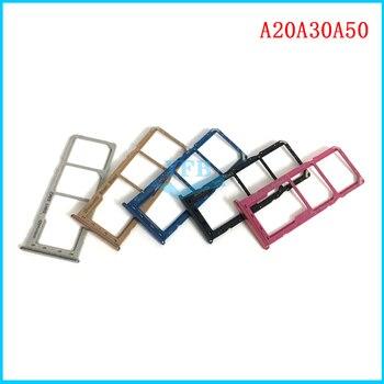 Две Sim карты держатель лотка для samsung Galaxy A10 A105F A20 A205F A30 A305F A50 A505 A505F A60 A70 A80 A90 лотка sim-карты слот запасная деталь