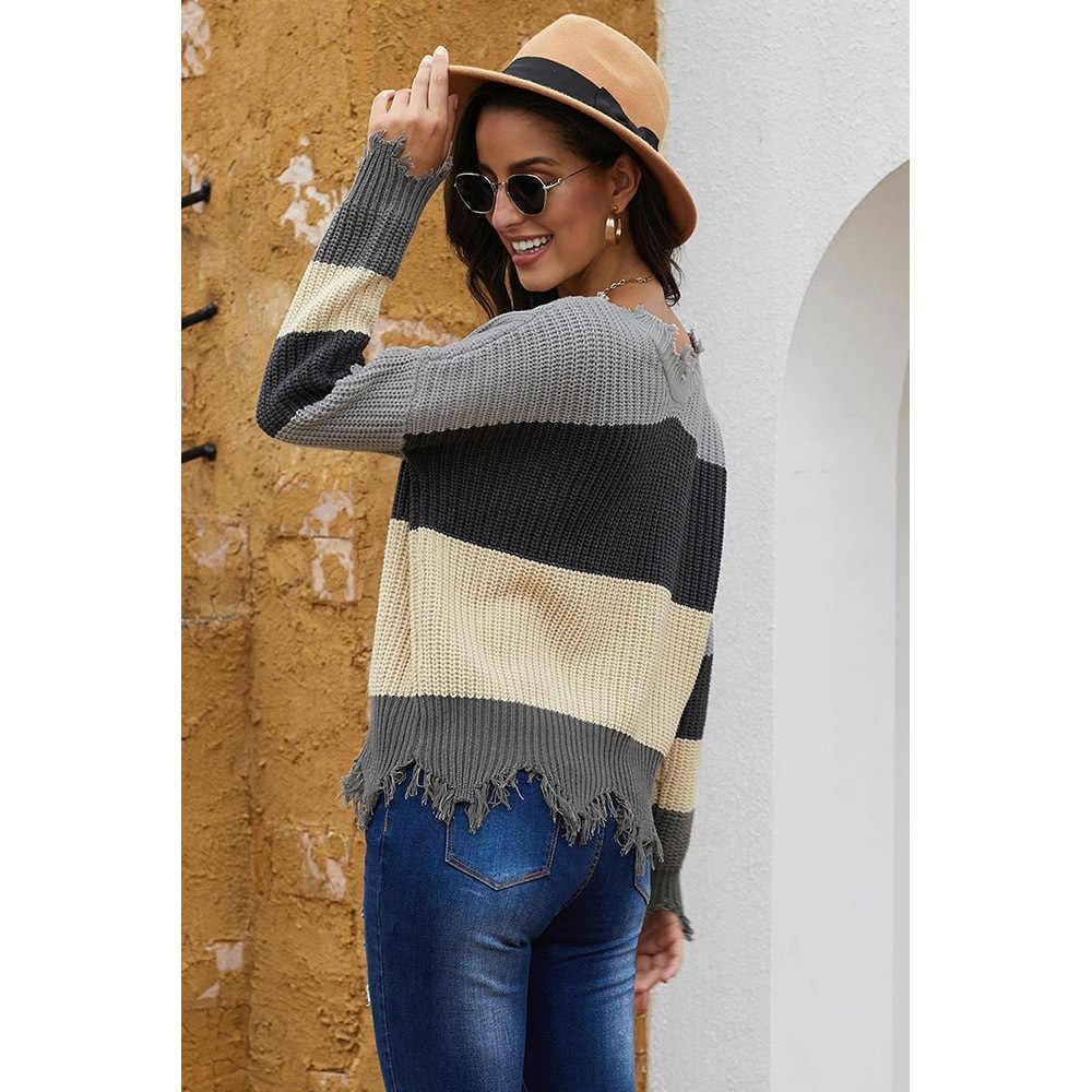 2020 그레이/레드 컬러 블럭 악세사리 스웨터 가을 겨울 봄 긴팔 캐주얼 풀오버 한국식 스웨터 무저 S-XL