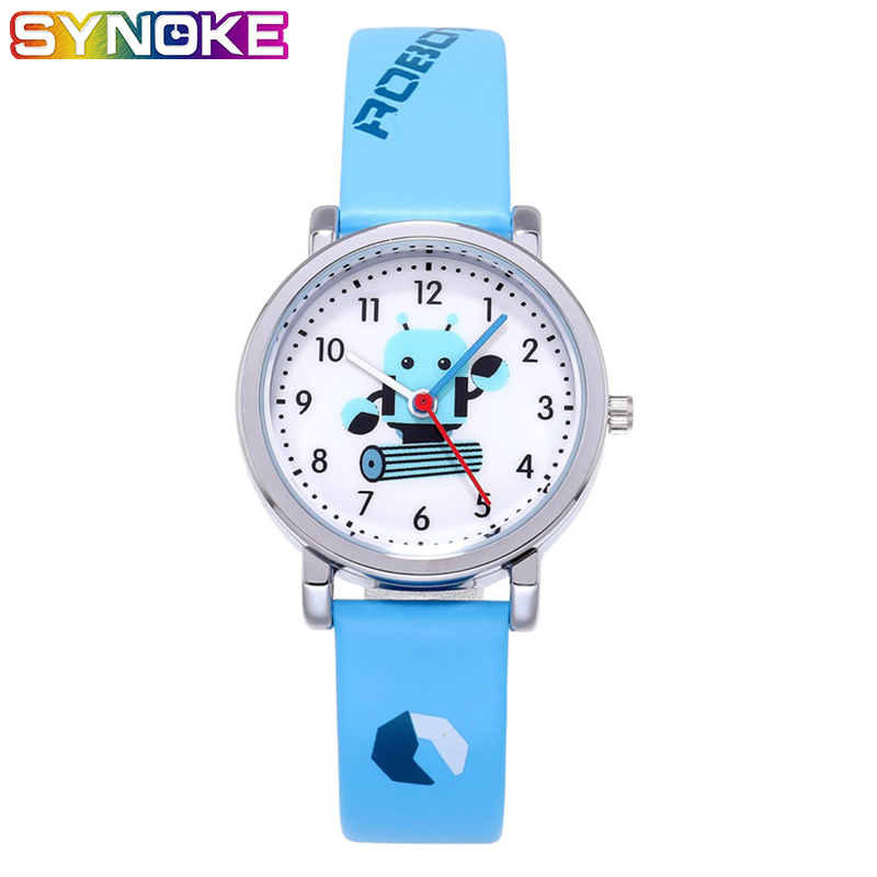 SYNOKE Children Cartoon Watch PU Leather Kids Watch Quartz Robot Cute Boys Watches  Fashion Casual Round Student Watch