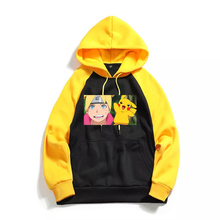 Naruto Pikachu Anime Print Men's High Quality Long Sleeve Hooded Sweatshirt Raglan Hoodies Man Cotton Hoodie White