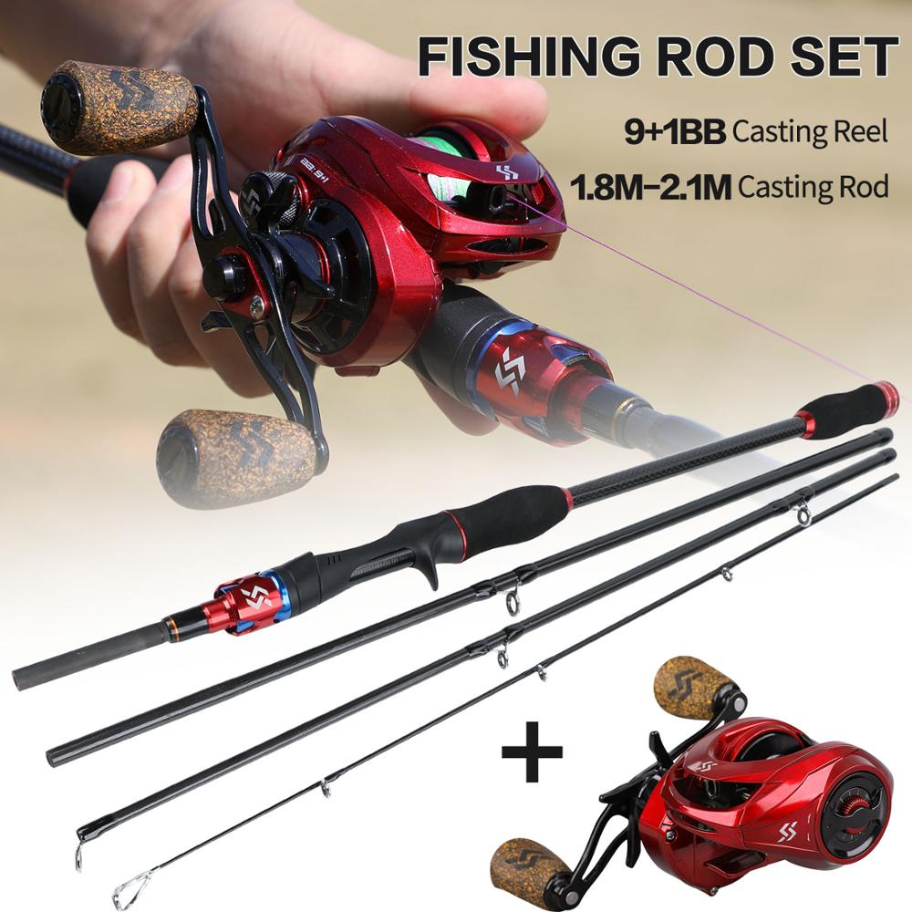 Sougayilang Fishing Rod And Reel Combos 4 Section M Power Casting Fishing Pole And 9+1BB Baitcasting Reel Kit Tackle Tools Set