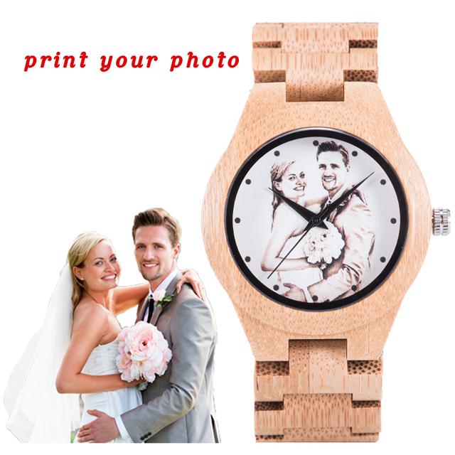 BOBO BIRD Lovers Watches Man Wooden Print Customize Photo Timepieces relogio masculino Handmade Women Luxury  Quartz Wristwatch