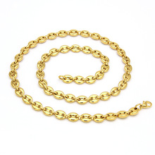 Coffee Beans Link Chain  Necklace for Men Stainless Steel Rope Necklaces Fashion Hip Hop Jewelry