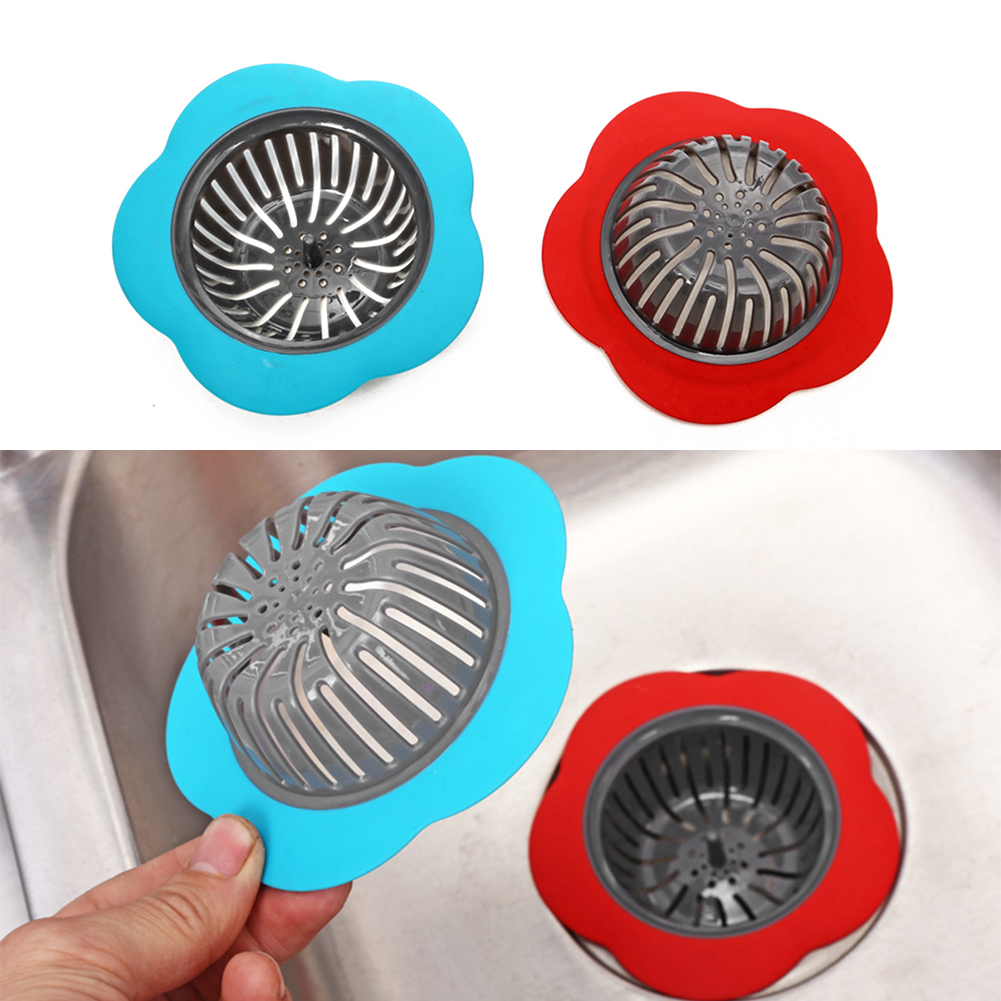 Silicone Sink Strainer Flower Shaped Shower Sink Drains Cover Sink Colander Sewer Hair Filter Kitchen Shower Room Accessories