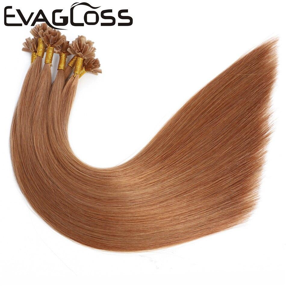 EVAGLOSS 1g/strand Straight Remy Human Fusion Keratin Hair Nail U Tip Pre Bonded Capsules Double Drawn Hair Extensions