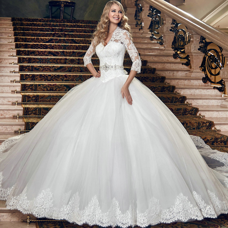 Vestido De Noiva Lace Sleeves Ball Bridal Gown With Bolero Appliques Robe Mariage Keyhole Back 2018 Mother Of The Bride Dresses