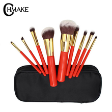 CHMAKE 9pcs Makeup Brushes Set Red Powder Foundation Eyeshadow For Cosmetics Soft Synthetic Hair With Case