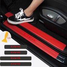 4pcs CIVIC emblem Carbon fiber Door Sill Scuff Car Door Plate Car Stickers For Honda Civic Mugen Accord Odyssey JAZZ CRV Fit