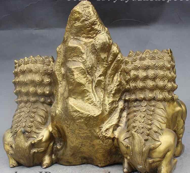 "Statue + + 12 ""Chinese FengShui latón malvado guardia Foo Fu Dios León par Shi ganang estatua"