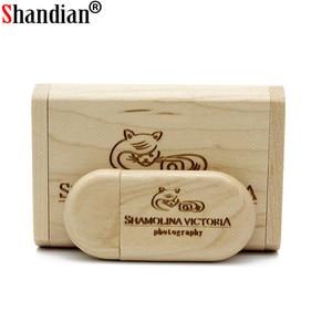 Image 3 - SHANDIAN Personalizza Il LOGO di legno + Box Personale LOGO pendrive 4GB 16GB 32GB 64GB usb Flash Drive memory stick U disk Regalo di nozze