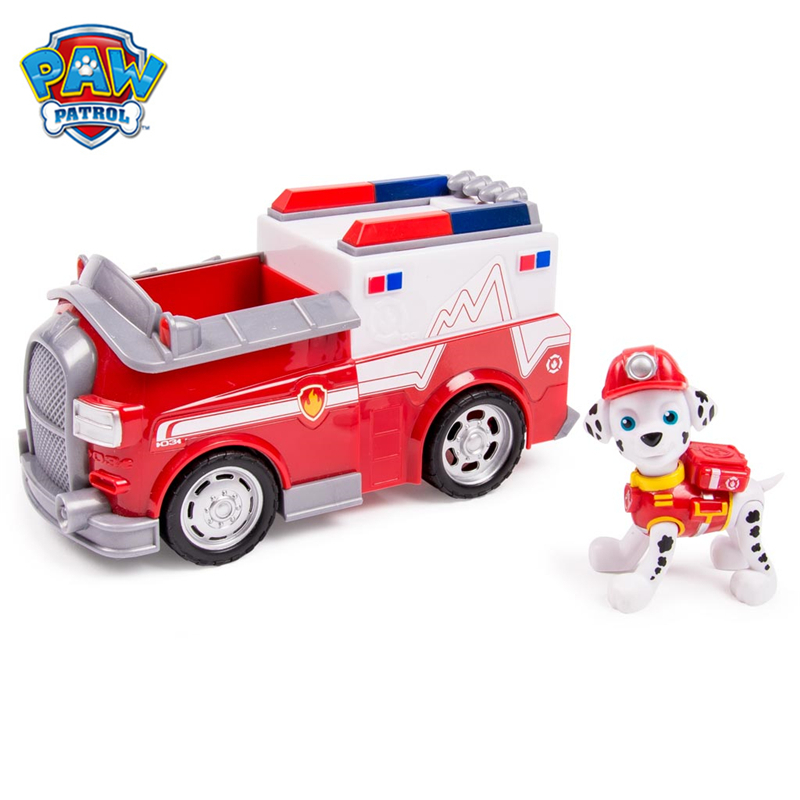 Original Paw Patrol Marshall's EMT Truck Vehicle Toys Set Anime Action Figure Model Cars Spin Master Toy Kids Birthday Gift