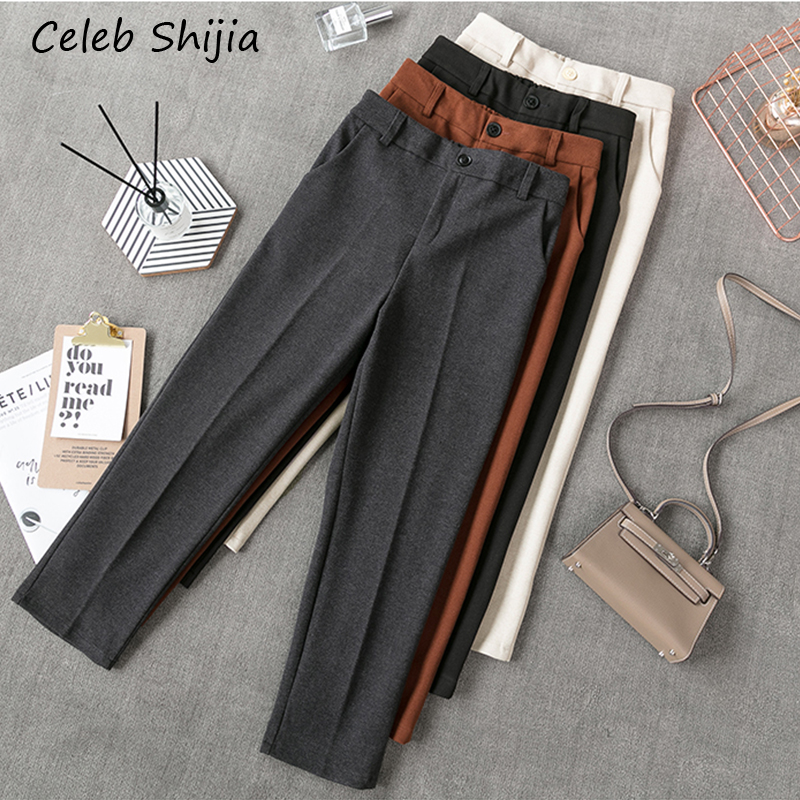 2020 New Autumn Woman pants wool gray solid casual loose Business OL blazer Suit Pants Female high waist trousers winter