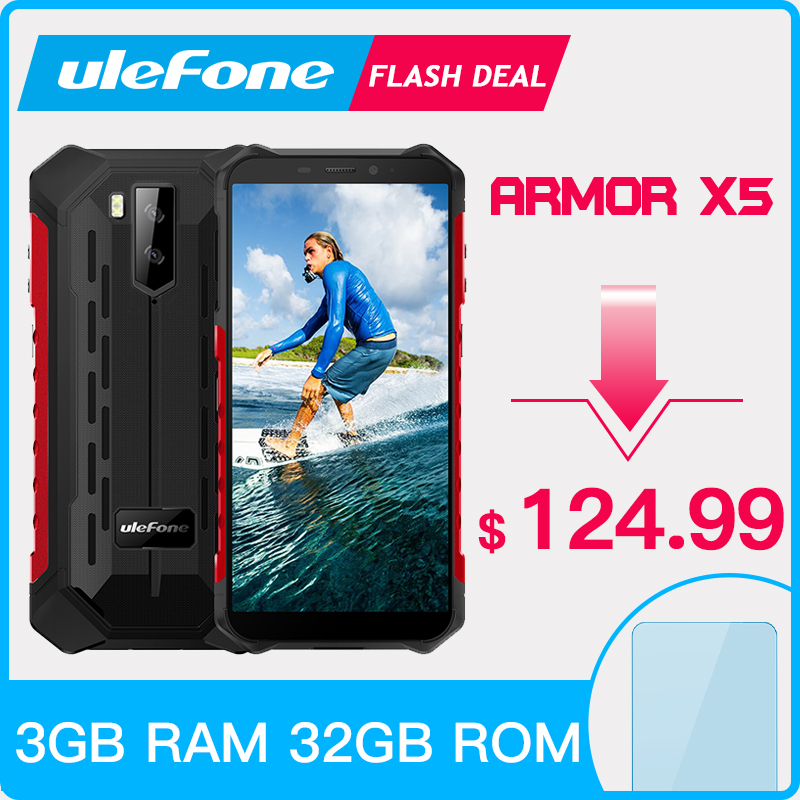Ulefone Armor X5 Rugged Smartphone Android 9.0 NFC IP68 5.5 Inch 3GB 32GB 5000mAh Cell Phone 4G Dual SIM Mobile Phone Android