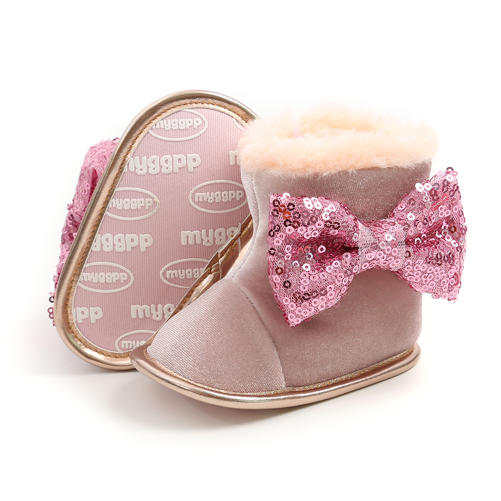 Newborn Baby Shoes Bow Fur Winter Warm Baby Girls Boots With Hairband Mid-Calf Length Slip-On Infant Furry Boots 0-18M