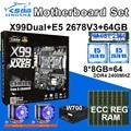 JINGSHA X99 dual motherboard set with 2pcs E5 2678V3 and 8*8gb ddr4 ecc reg 2400mhz RAM 2pcs cpu fan PM981 SSD M.2 and power