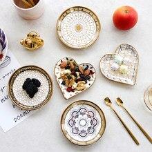 Plato de cerámica de estilo euopeano, joyería, plato, baratija, bandeja con adornos dorados, platos de comida, cuenco con tuerca para Cocina