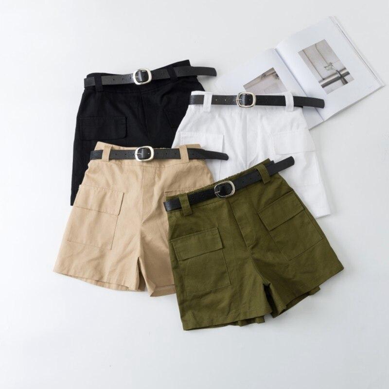 2019 Stretch High Waist Shorts Ladies Summer Tooling Wide Leg Shorts Retro Sexy Cotton Street Shorts X