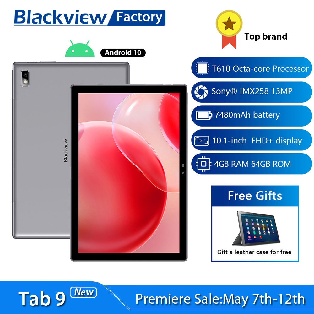 10.1 Inch Blackview Tab 9 Android 10 Tablet Octa Core 13MP Camera 4GB RAM 64GB ROM 4G Phone Call 7480mAh Tablets PC