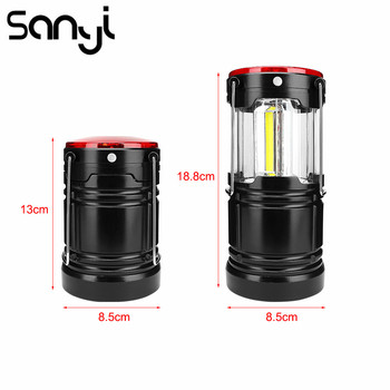 Sanyi Portable Camping Lantern Powered by 18650 Battery Hanging Tent Flashlight COB+1W Led+Red Lamp Flashlamp Camping Light