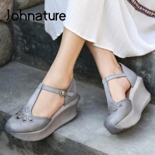 Women Shoes Wedges Platform Summer Sandals Johnature Strap Buckle Genuine-Leather Casual
