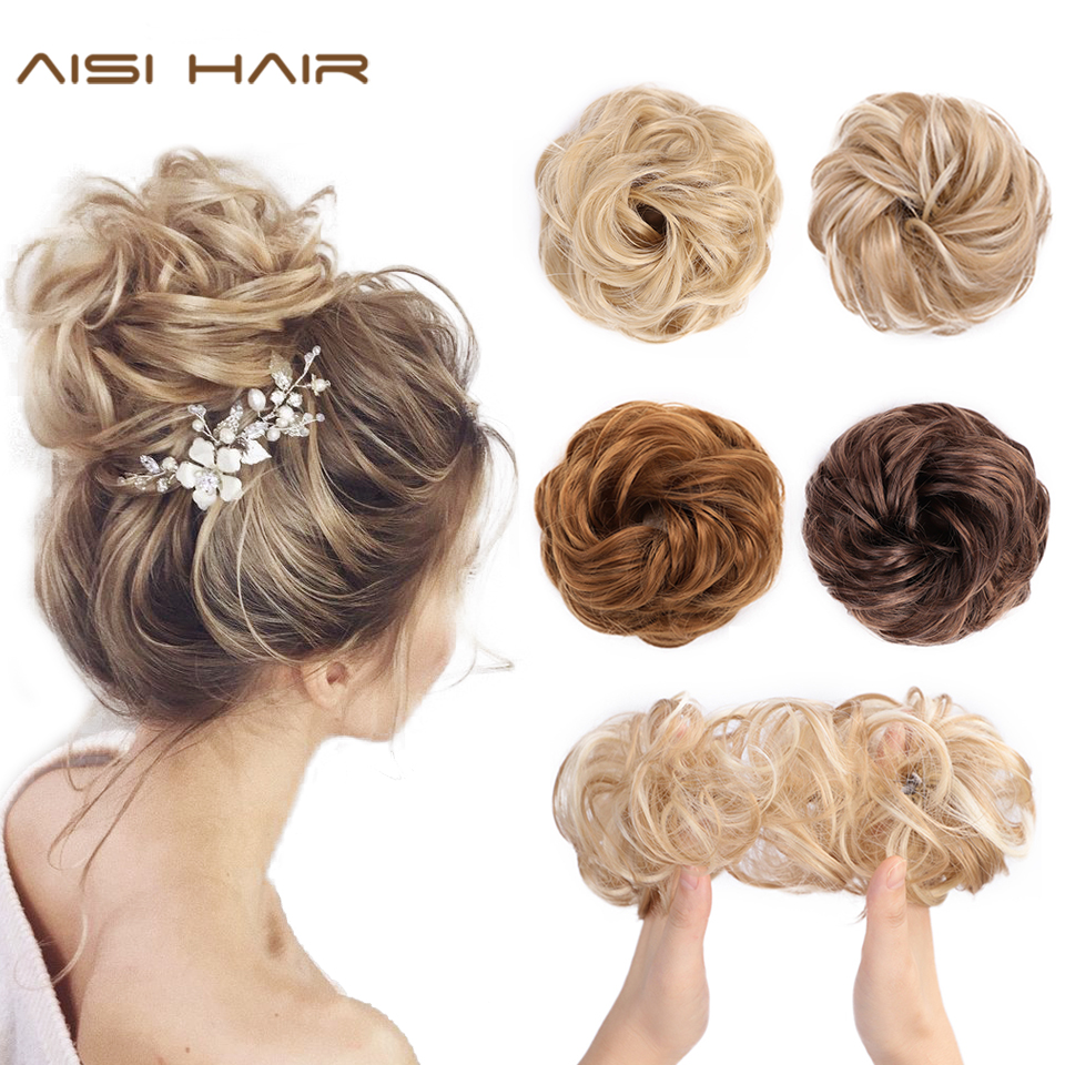 AISI HAIR Synthetic Hair Bun Extensions 1PCS Curly Chignons Messy Donut Chignons Hair Piece Scrunchie Scrunchy Updo Hairpiece