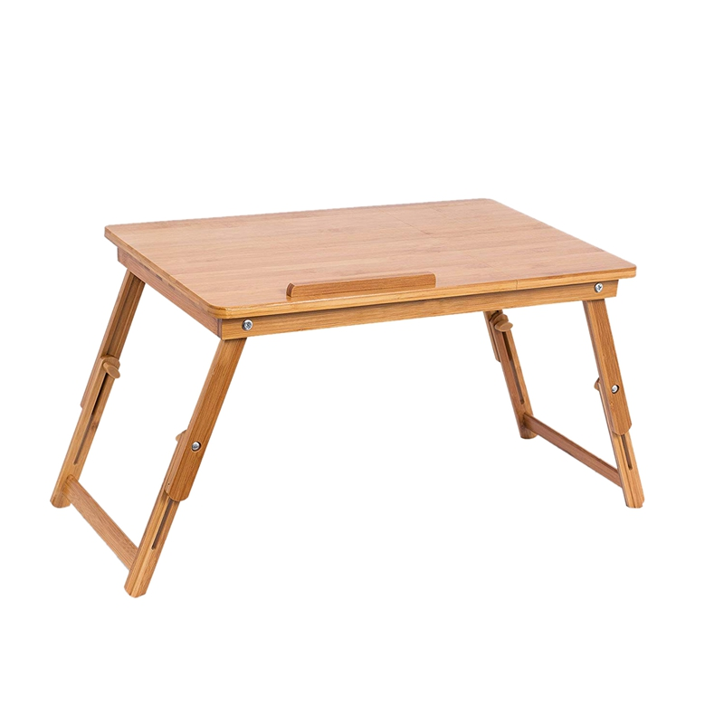 Multifunction Lap Desk Breakfast Serving Bed Tray Sofa Tray With Foldable Legs-Natural Log Color