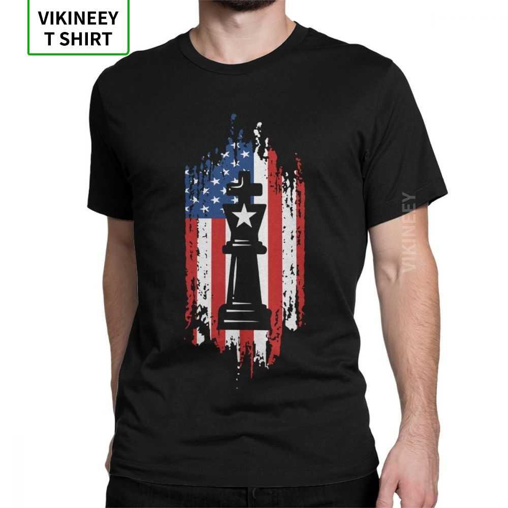 Uomini Patriottica Scacchi T Shirt Re queen 60s Gioco Da Tavolo Cavallo Ventilatore Lettore Papà Vestiti di Cotone Manica Corta Magliette originale T-Shirt
