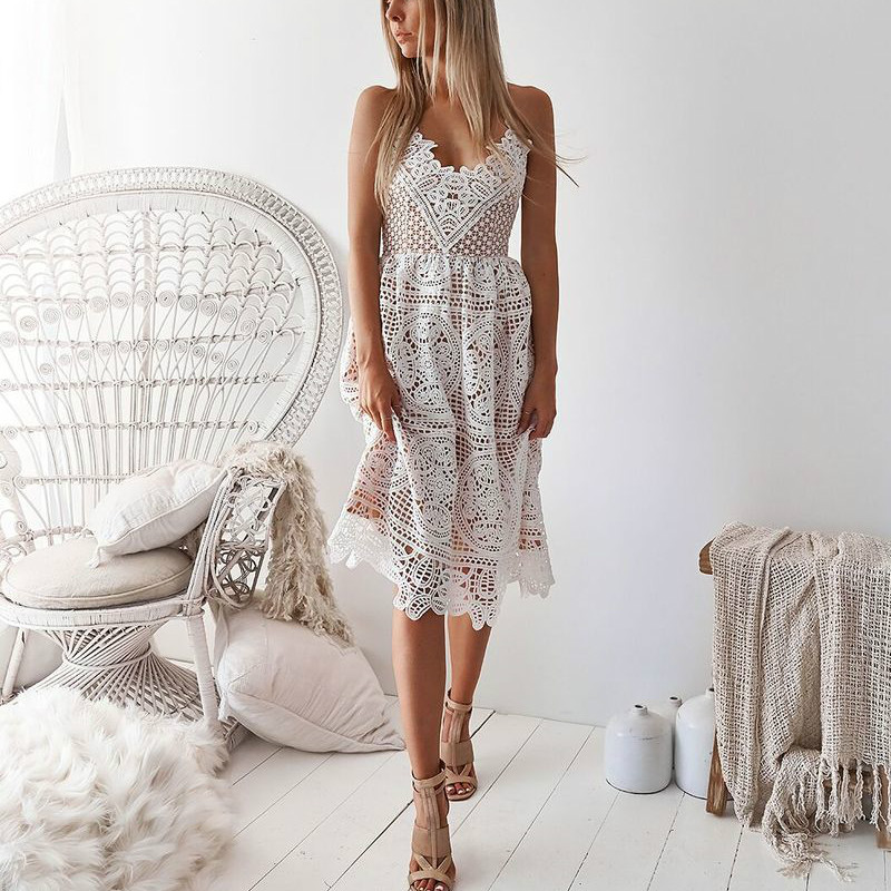2019 Sexy Fashion Summer Lace Women Dresses V-neck Spaghetti Strap Backless Party Dress A-line Beach Elegant Vestidos Dresses